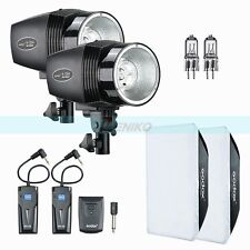 Godox 2X 150W Studio Strobe Flash Lights Kit + Trigger Softbox Modeling Lamp Set
