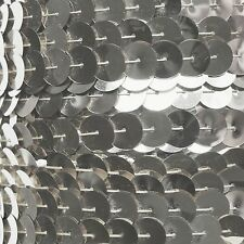 Sequin Trim 10mm Iron On Silver Metallic. Made in USA