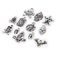 12 Antique Silver Alloy Skull Pendants Charms Mixed Style Jewelry Craft Findings