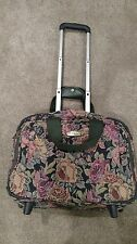 Ricardo Beverly Hills Luggage Tote Rolling Wheels & Pull Up Handle Floral Print