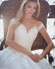2017 White/ Ivory Vintage Lace Bridal Gown Wedding Dress Custom Size 6 -18