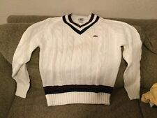 80s XL VTG Mens Izod Lacoste Tennis Golf Cable knit V-Neck Sweater