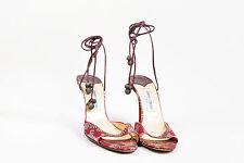 Jimmy Choo Maroon Green Satin Floral Printed Ankle Tie High Heel Sandals SZ 41