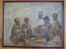 VINTAGE ORIENTALIST OIL PAINTING ARAB MIDDLE EASTERN IRANIAN PERSIAN SIGNED OLD
