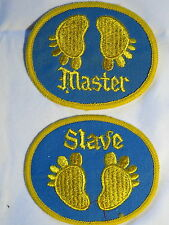 """Master Slave"" Sex Position Feet Pair (2) Sew on Cloth Patch Badges 1970's"