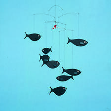 SHOAL OF FISH FLENSTED HANGING MOBILE KINETIC ART DANISH MODERN DENMARK NEW
