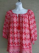 New Dircetions  3/4 Sleeve Split Neckline with Tie Soft Peasant Top 2X msrp $48