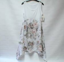 NWT MADE IN ITALY LAGENLOOK Linen Pastel Floral Quirky Dip Hem Dress UK M