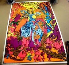 VINTAGE 1970 CAPTAIN AMERICA Joe Roberts Jr BlackLight CYCLE POSTER Rolled