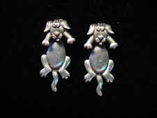 """JJ"" Jonette Jewelry Silver Pewter Small 'DOG 3-D' Pierced Earrings"