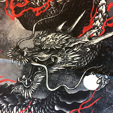 PNL148 Red Asian Dragon Moon China Japanese Fantasy Cotton Quilt Fabric Panel