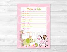 Safari Girl Jungle Animal Printable Baby Shower Wishes for Baby Advice Cards