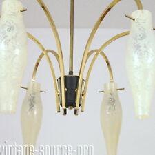 exklusive Rockabilly Messing Glas Tropfenlampe Deckenleuchte Pendellampe 50er J.
