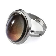 Classic Retro Style Adjustable Mood Emotions Ring with Card - One Size Silver