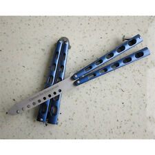 Blue Practice BALISONG Metal Butterfly Steel Trainer Dull Knife Sport Tool YW