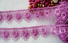 Very pretty Purple color  floral embroidered lace trim - price for 1 yard