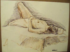 """""""FEMALE NUDE"""" by Ruth Freeman DRAWN WITH INK ON PAPER 17 1/4"""" X 22 1/4"""""""