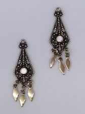*4033M ANTIQUED GOLD CHANDELIER/EARRING DROP W/MOTHER OF PEARL INLAY - 2 Pc Lot