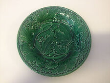 Antique Late 19th Early 20th Cent. Green Majolica Pottery Plate Grape Leaf Dec.