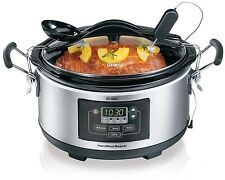 Hamilton Beach 33967 Digital Set n' Forget 6 Qt Programmable Slow Cooker & Spoon