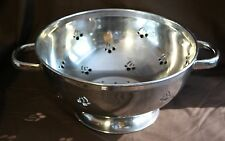 "Cute Sharda Stainless Vegetable & Fruit Colander with Cherry cutouts 10"" x 5"" h"
