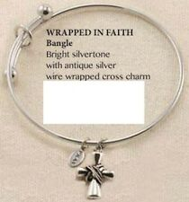 Adjustable Wire Bangle Bracelet Wrapped Cross charm by PRAY PRB146AS