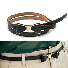 Moda Negro Cinturón Lazo Cuero PU Correa de Cintura Pretina Accesorio para Mujer
