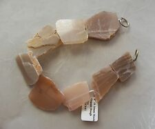 "8"" Strand Peach Moonstone Large Organic Rough Slice Nugget Beads 20mm-32mm"