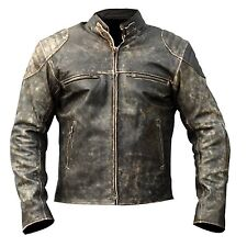 Mens Antique Black Vintage Distressed Retro Motorcycle Biker Leather Jacket