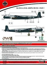 Owl Decals 1/32 HEINKEL He-219A-2 Night Fighter W.Nr. 290070 1./NJG.1