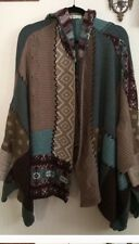 ANTHROPOLOGIE SLEEPING ON SNOW Hooded Patchwork Boho Poncho Cape Sweater OS EUC