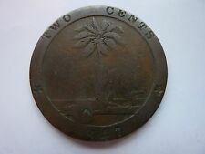 1847 Liberia 2 Cents  Rare Large Old Coin