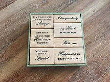 NEW Mounted ANNA GRIFFIN Sentiments/Words/Heart/Love/Miss You Wood Stamp Set (7)