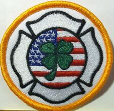 FIREFIGHTER CREST WITH USA FLAG & CLOVER Iron-On Patch Gold Border