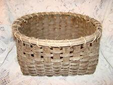 Antique Primitive Woven Splint Ash Large Basket 1800's