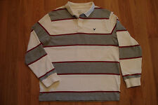 American Eagle Outfitters Gray Stripe Rugby Shirt L Mens Long Sleeve Polo AE Top