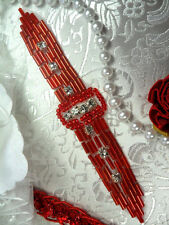 XR242 Red Beaded Crystal Rhinestone Applique Sewing Patch Motif 4.75""