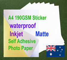10sheets A4 190GSM Inkjet Waterproof Self Adhesive Matte Photo Print Paper