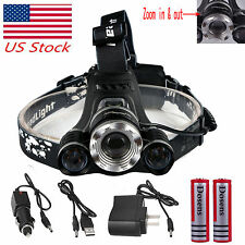 Zoomable CREE 12000 Lumen Headlamp XM-L 3 x L2 LED Headlight 18650 Light Battery