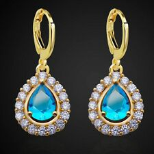 Fashion For Lady Yellow Real Gold Plated Blue Cubic Zircon Drop Earrings
