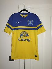 EVERTON Nike Football Shirt Men's Small Away Fluorescent 2013 14 Soccer Top S