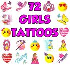 72 GIRLS PACK OF TEMPORARY TATTOOS CHILDRENS BIRTHDAY FETE TOY PARTY BAG FILLER