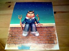 1970s Comical Painting of Well Dressed Devil sitting on a Wall