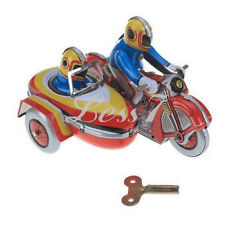 Vintage Collectible Gift Tin Toy Wind Up Clockwork Motorcycle Motorbike Side Car
