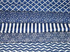 5 FQ Bundle – BLUE & WHITE PRINTS 100% Cotton Quilt Fabric Fat Quarters V4