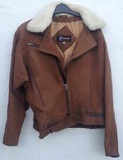 Flying Style Jacket Brown Suede with sheepskin collar size medium 12-14