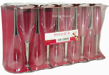 10 Pack Disposable Champagne Flutes With Silver Stem Party Wine Glasses