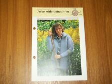 Vintage Quick & Easy Knitting Pattern, Ladys Jacket with contrast trim, 119