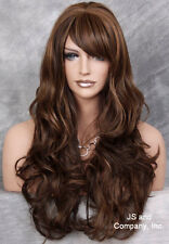 Human Hair Blend Brown Blonde Mix Long Heat Safe Curly Layered wty wig  4/27