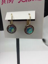 "$28 Betsey Johnson ""You Give Me Butterflies"" Opal Faceted Stone Drop Earring"